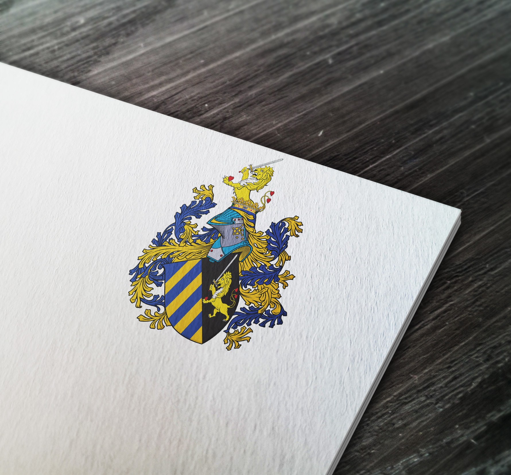 Coat of arms I designed for an engineer from the USA. Project based on 3 sources: a painting, a watercolor also printed and stained glass