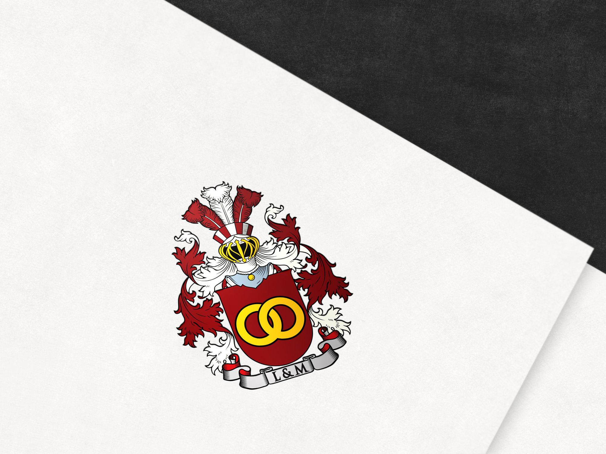 Coat of arms designed for a newly married couple from the UK