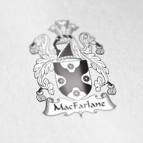 Coat of arms designed for the MacFarlane family from Ireland
