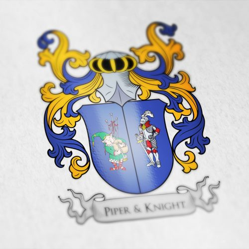 Coat of arms designed for the Piper&Knight company, USA