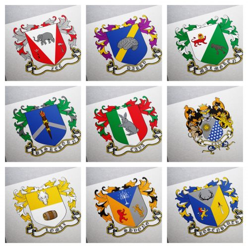Coat of arms for a newlyweds and their groomsmen USA