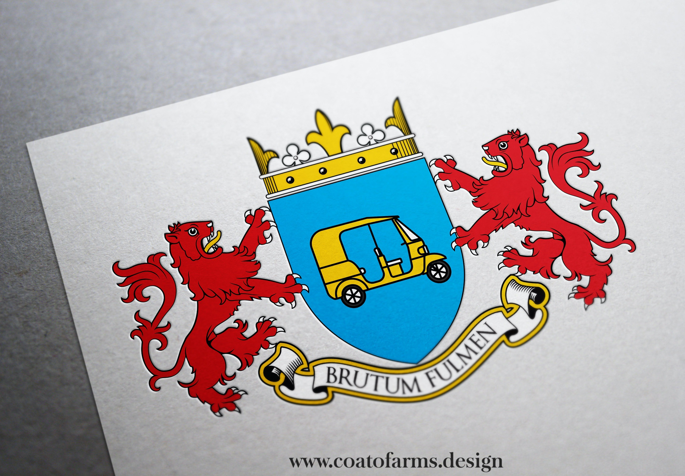 "Coat of arms I designed for a group of friends from Luxembourg ""The Tuktators""  TukTuk Rickshaw Challenge participants"