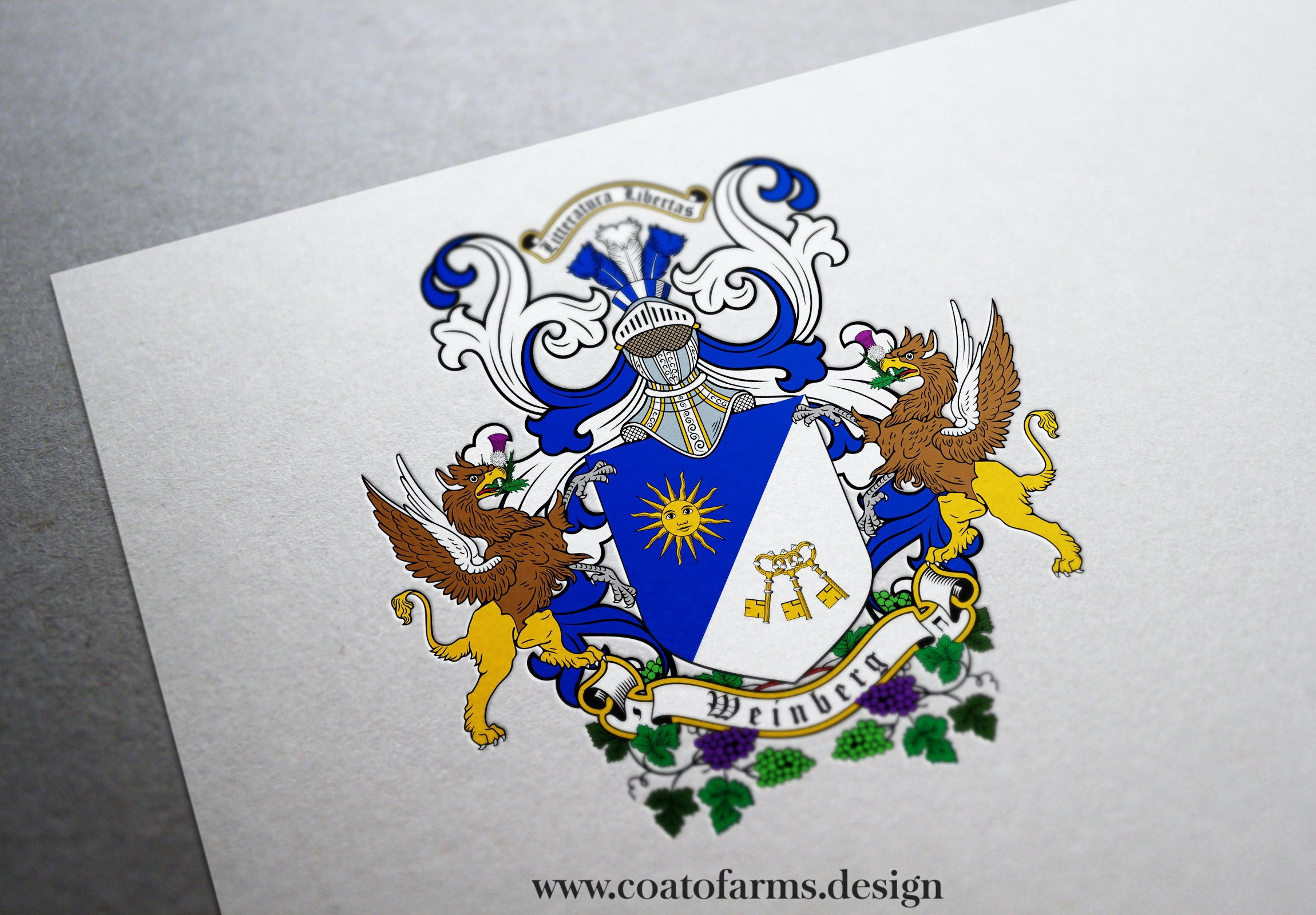 Coat of arms I designed for a Weinberg family from the USA