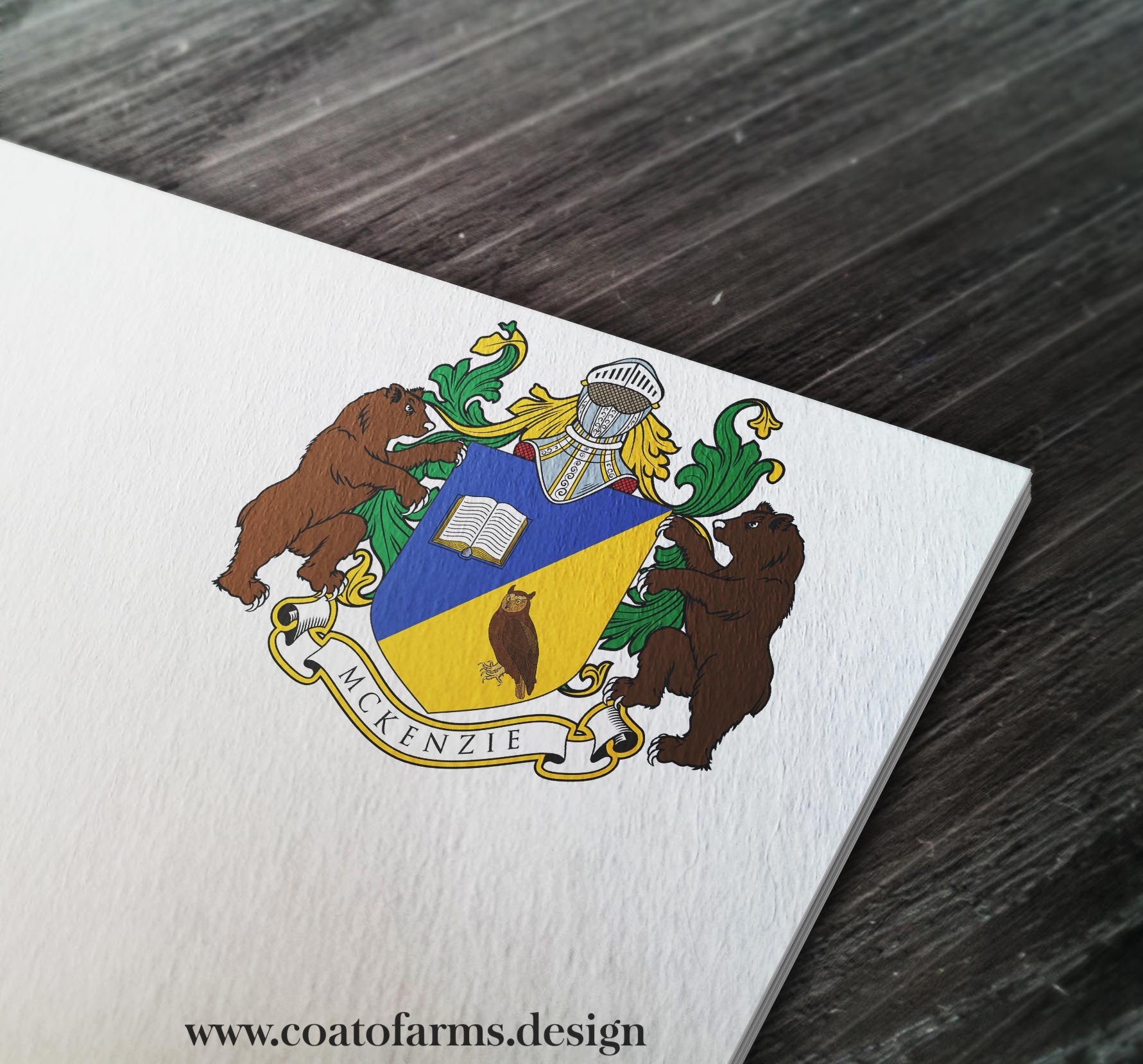 Coat of arms I designed for McKenzie family of lawyers and accountants, USA