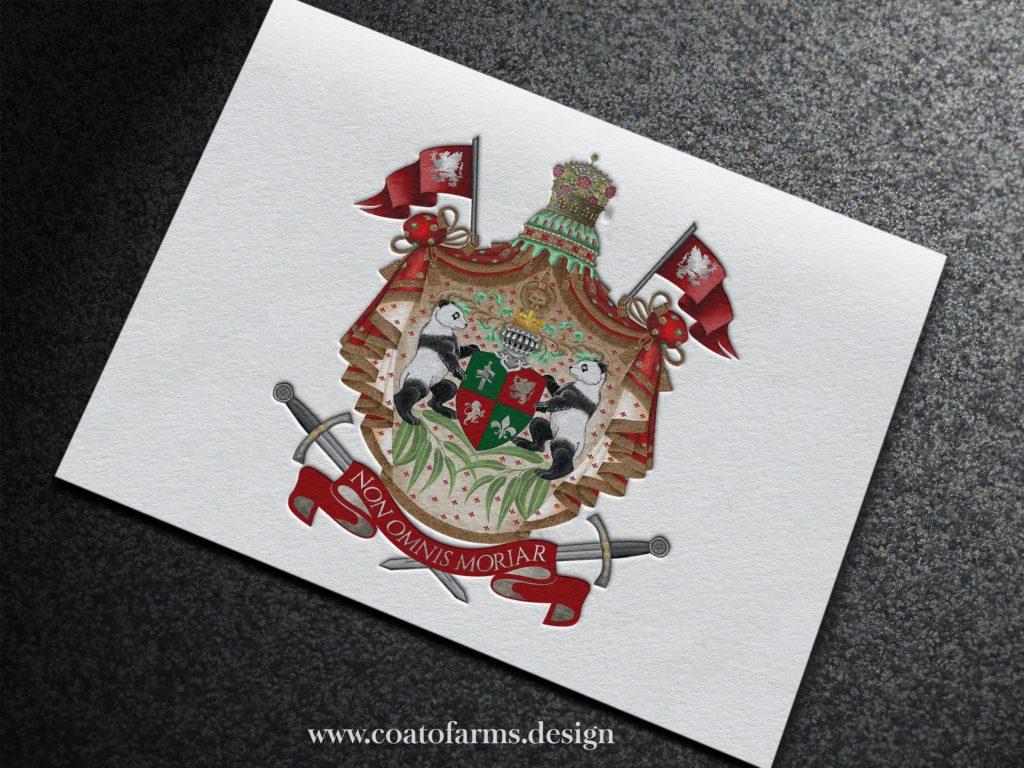 panda coat of arms Australian family