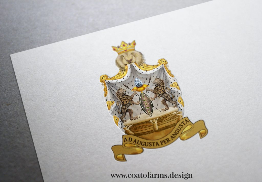 coat of arms hand painted for an Ethiopian citizen from the UK