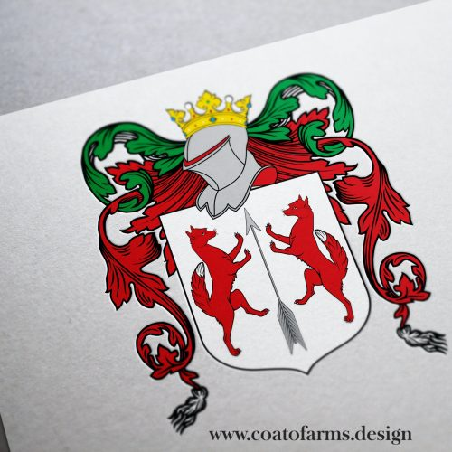 Coat of arms I designed for a couple from Canada merging their two family crests into the one