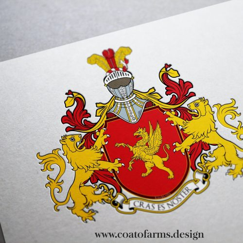 Coat of arms I designed for a family from Norway with lions and griffin