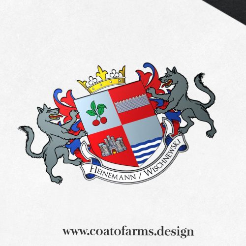 Coat of arms (family crest) I designed for a family from Germany, Wolfsburg with 2 wolves
