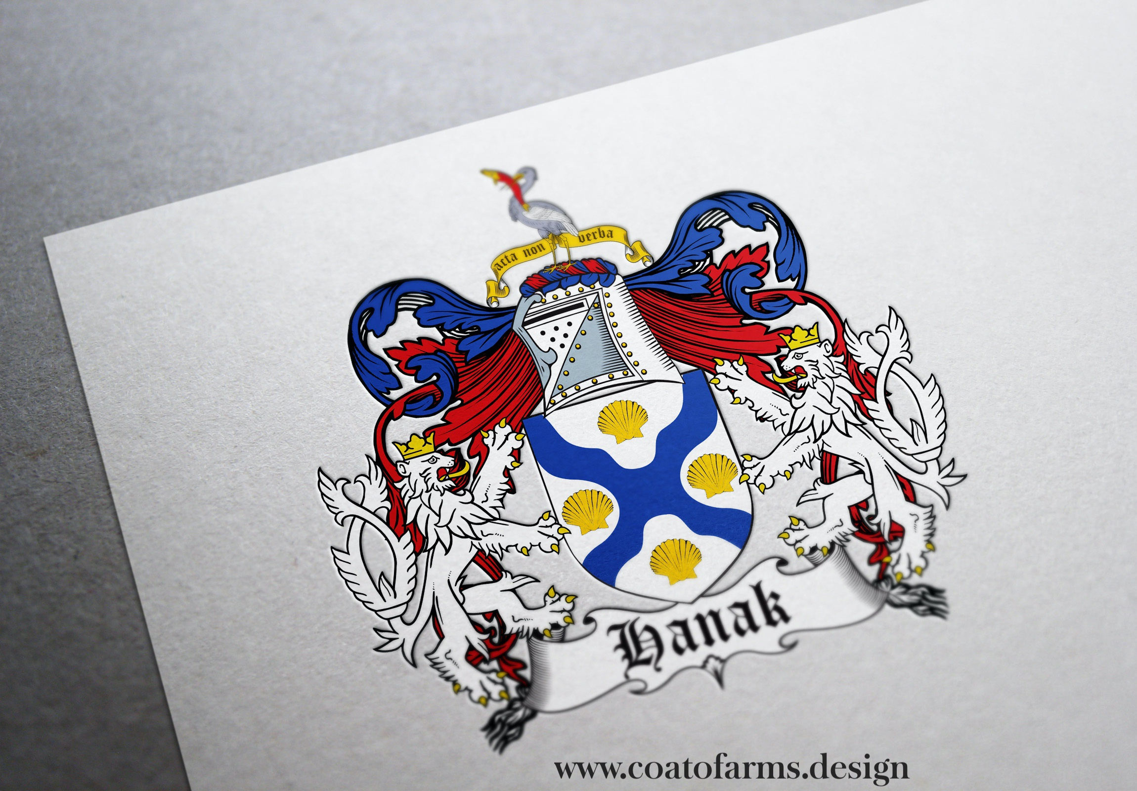 Coat of arms (family crest) I designed for a Hank family from the USA