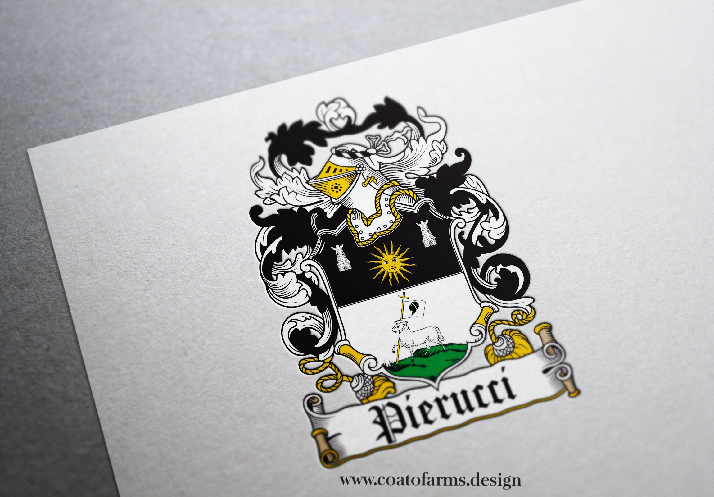 Coat of arms (family crest) I designed for an old cheesemakers family from Corsica