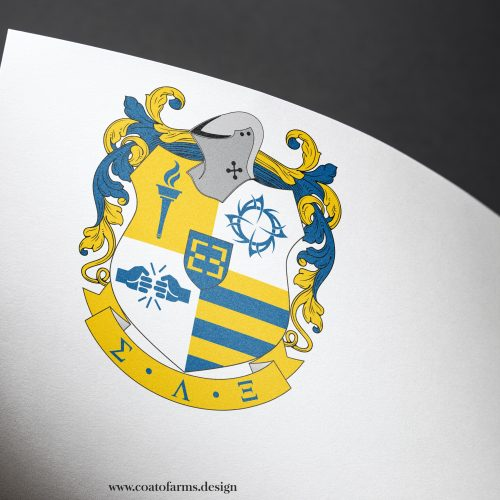 Modern coat of arms (emblem) I designed for a Kappa Xi Lambda fraternity from the USA
