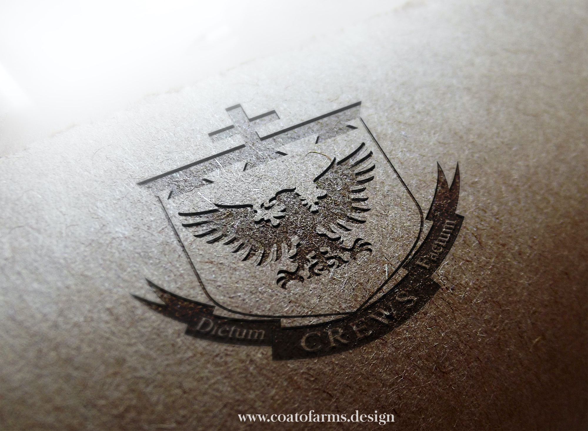 A simple coat of arms (emblem) I designed for a client from the USA based on his rough sketch