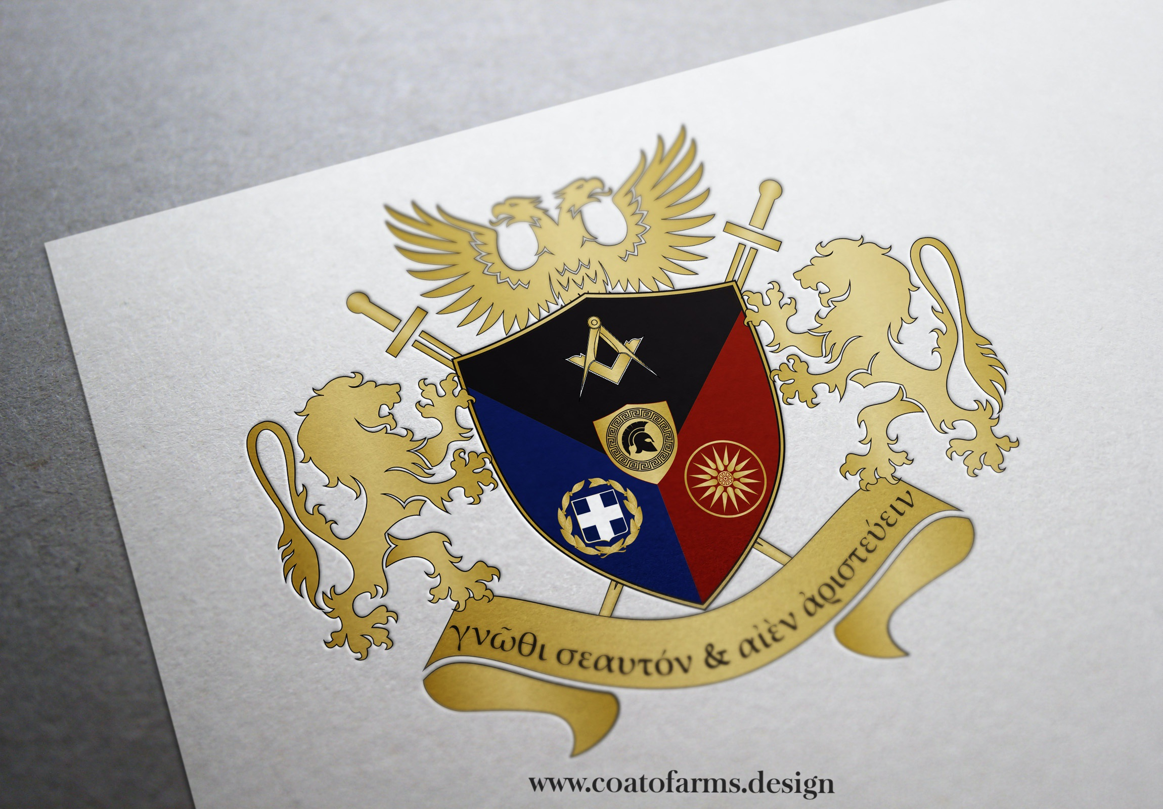 A very simple and modern coat of arms (family emblem) I designed for a family from Greece