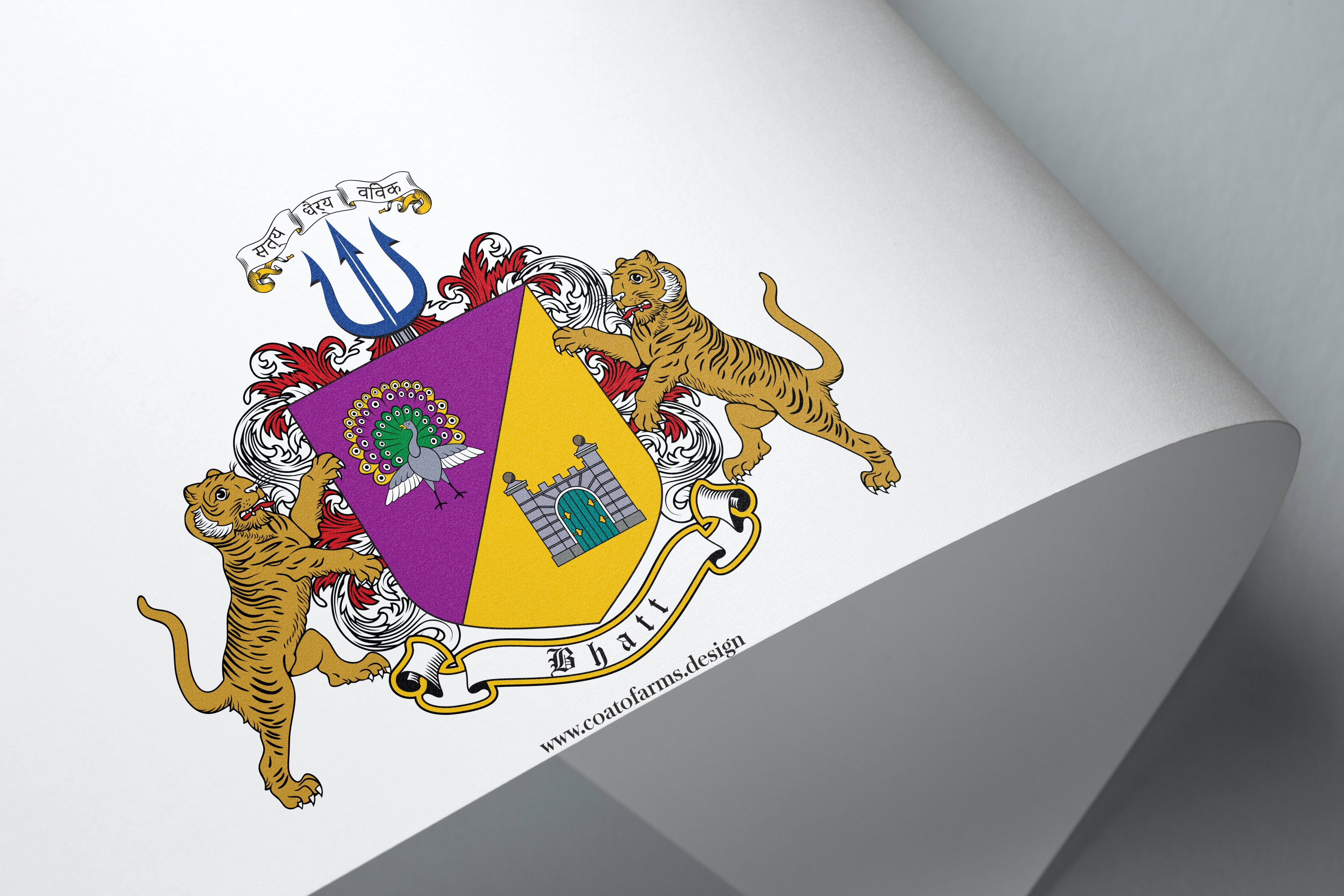 Coat of arms (family crest) I designed for a client from India