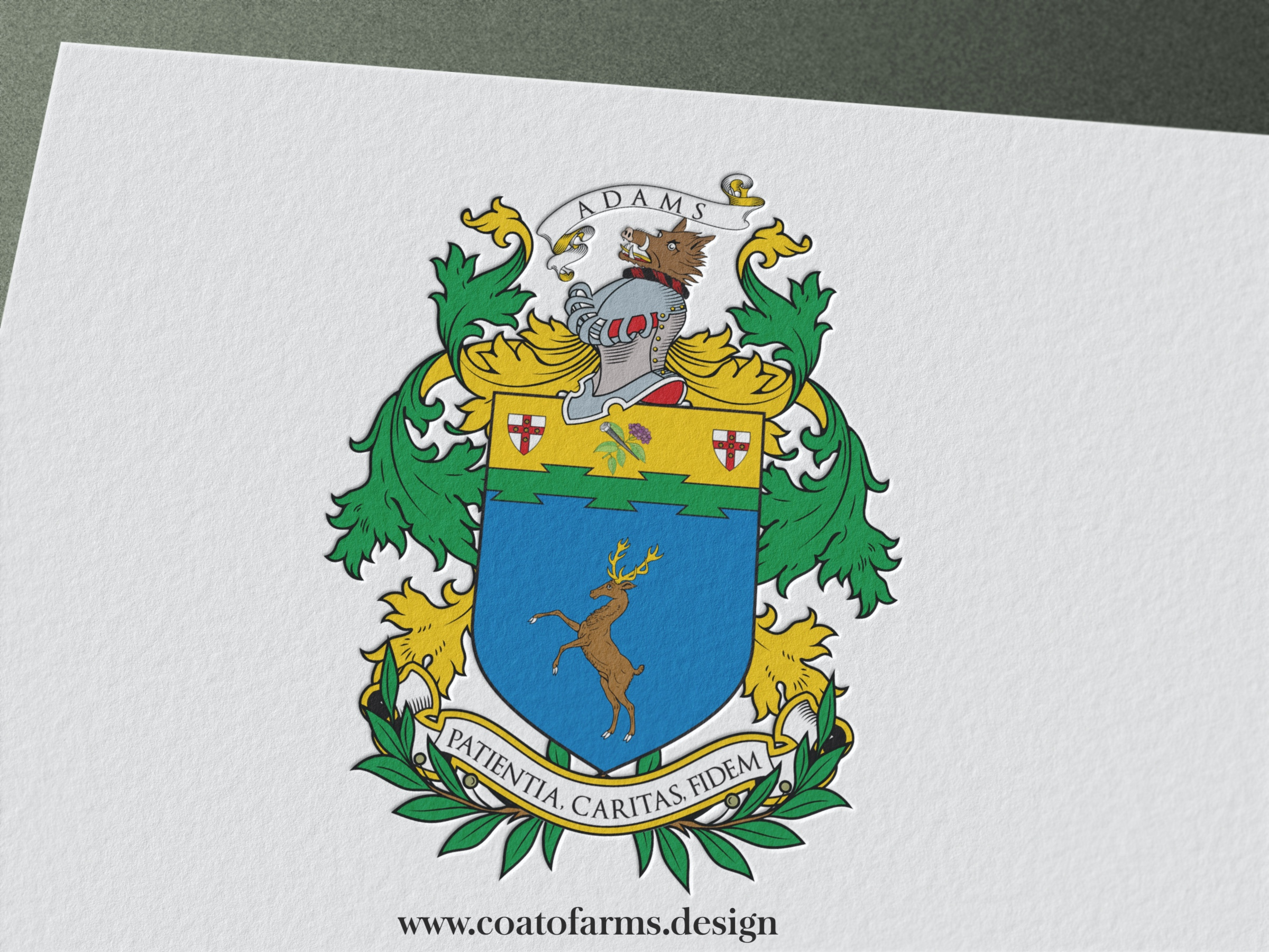 Coat of arms (family crest) I designed for the Adams family from the USA