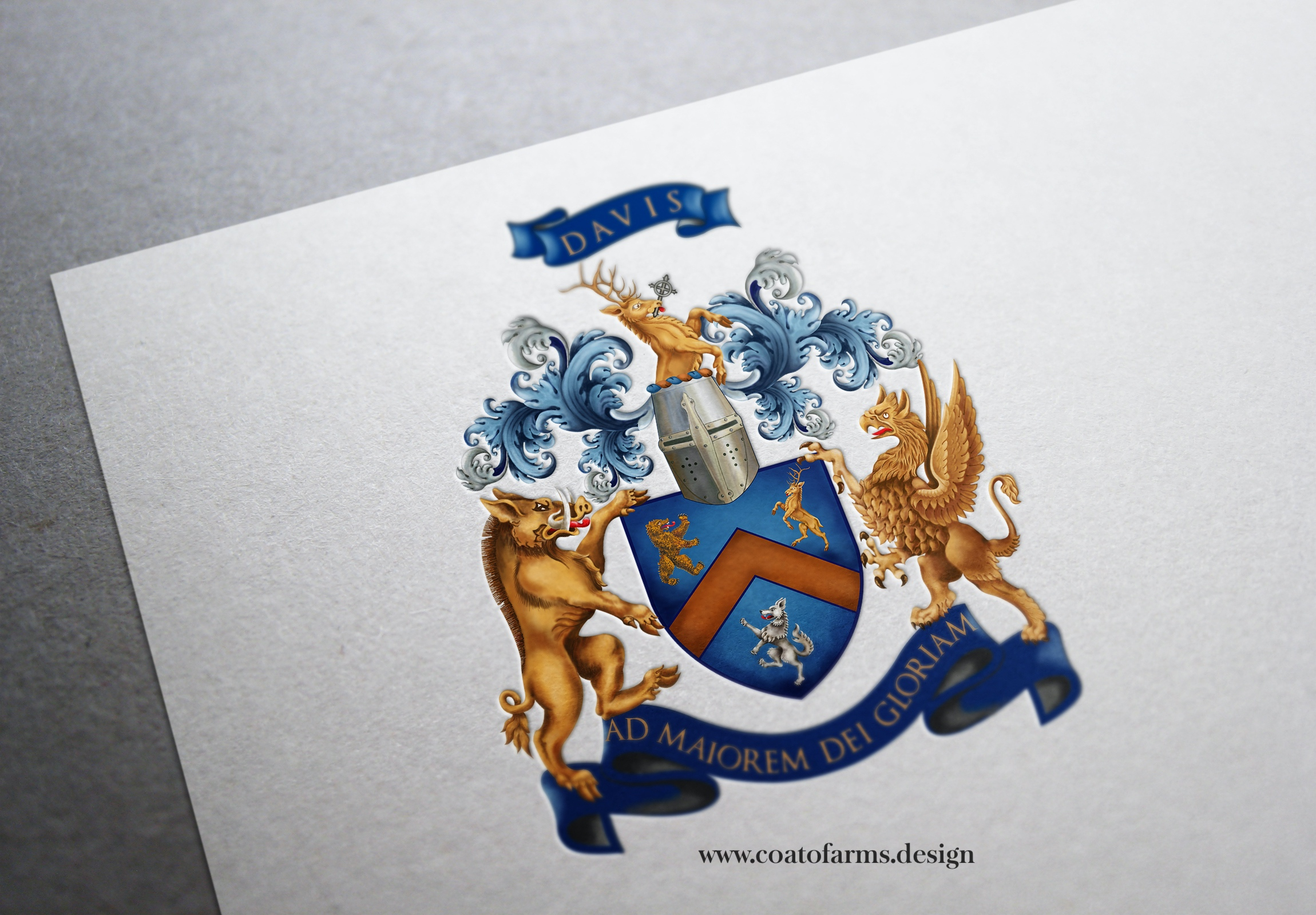 Coat of arms (family crest) I digitally painted for a family from the USA
