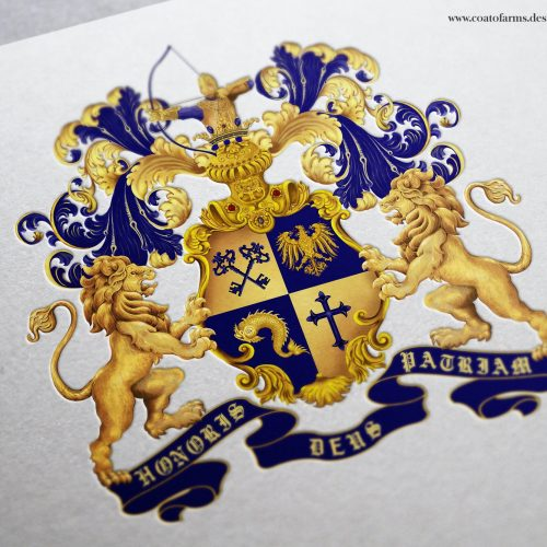 Coat of arms (family emblem) I designed for a German traders family from Berlin with an archer in the crest