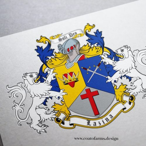 Coat of arms (family crest) I designed for a Lazina family form the USA light