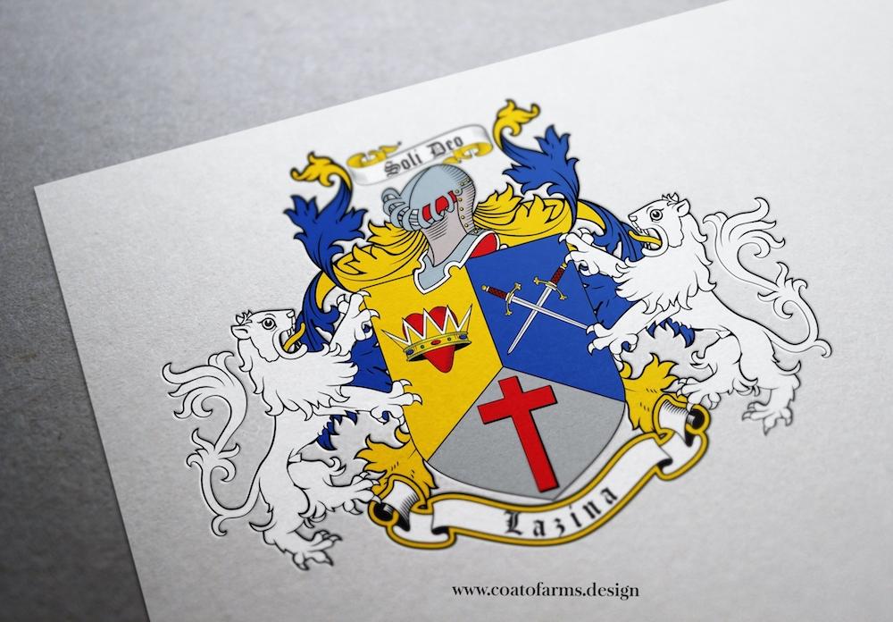 Coat of arms (family crest) I designed for a Lazina family form the USA light