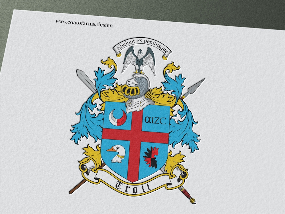 Coat of arms (family crest) I designed for a Trott family from the USA