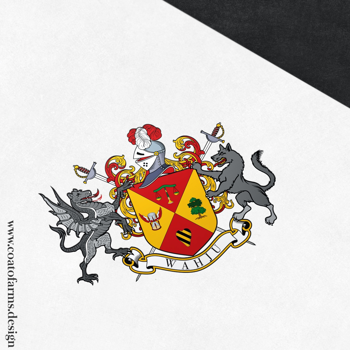 Coat of arms (family crest) I designed for the Wahju family from Germany