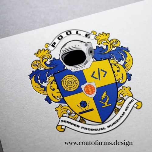 Coat of arms I designed for a software developer and his family from the USA