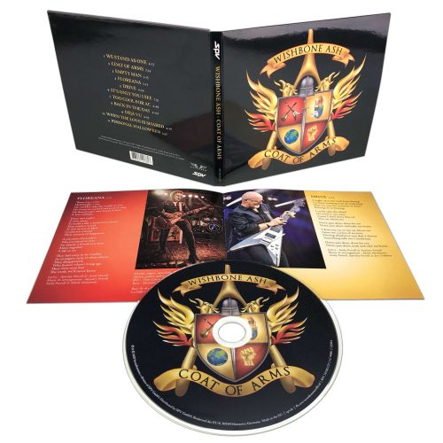 Wishbone ash CD and LP view with the coat of arms graphic