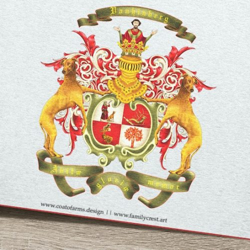 Family crest I designed for the Vanhinberg family from Germany